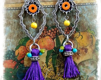 PURPLE Tassel Earrings Flower Girl Gypsy hippie Cowgirl EARRINGS long Hoop earrings Colorful earrings Boho Hippie Bohemian earrings GPyoga