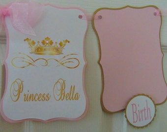Princess Pink and Gold Birthday banner-photo  banner-1st year banner-Pink and gold banner-12 month banner- birthday banner-1st birthday