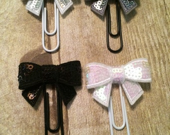 Planner Clip -  Sequin Bows For Planners, Calendars, Or Books