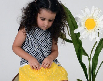 Yellow and black todder infant dress gingham polka dots ric rac pockets daisies- Daisy Mae