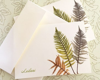 Personalized Cards, Custom Note Cards, Vintage Fern Cards, Set of 8