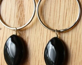 Sterling silver hoops with black onyx stones