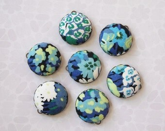 Liberty Fabric Charms 20mm Blue Green White Floral set of 7 Charms DIY Earrings, Necklace, DIY Jewelry, Bridesmaid (set 1b)