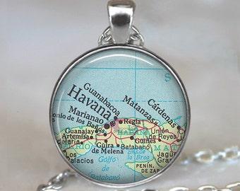 Havana map necklace, Havana map pendant, map jewelry, Cuba map pendant, Havana Cuba necklace, key chain key fob key ring