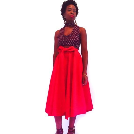 mid length high waist skirt with bow