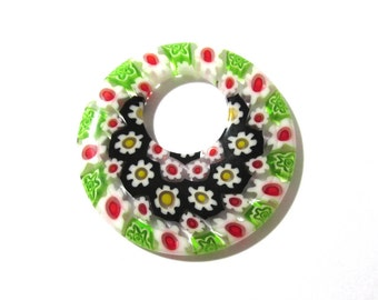 40mm GLASS Millefiori Donut Pendant Millefiori FLOWERS Red Green Black Glass Donut Pendant 40mm Large Glass Focal Jewelry Supplies (S167)