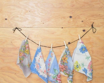Vintage Handkerchiefs; Blue Floral Lot Of 5 Lovely Hand-Selected Pieces
