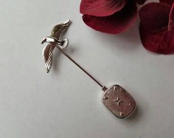 Vintage Anson Sterling Silver Stick Pin Sea Gull Monogram J Vintage Jewelry