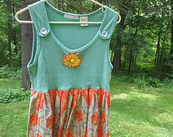Medium, Upcycled babydoll top, festival top, orange and green, lagenlook, coachella tunic, Lily Whitepad