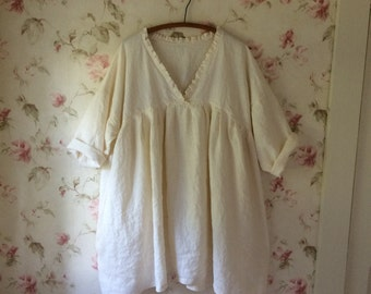 Washed Linen Long Dress Soft Ivory Linen Nightdress  Prairie Dress Lagenlook One Size