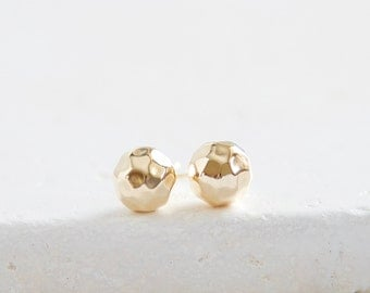 Large Hammered Ball Studs | gold filled ball earrings 8mm | Ready to ship