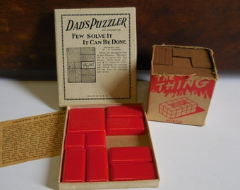 2 Vintage Toy puzzles 1926 Dad's Puzzler and The Thing wood block puzzle game