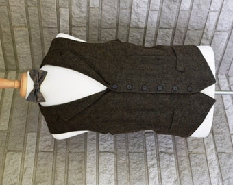 Bow tie and vest set with button back tabs - custom made to order business wear, groom, wedding party