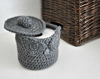 Owl Toilet Tissue Basket Bathroom Decoration Spare Roll Holder Grey Home Decor Custom Colors