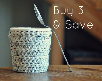 3 Ice Cream Cozies Pint Covers - Crocheted Holder Pint Size Eco Friendly Reusable Cover Get Well Gift Friend Gift Easy Hold Stocking Stuffer