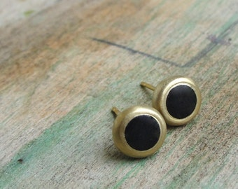Onyx Earrings , Onyx Studs , Gold Studs , Matte Onyx Earrings , Black Onyx Studs