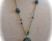 Neo-Victorian Style Lavalier Pendant Necklace in Blue and Green