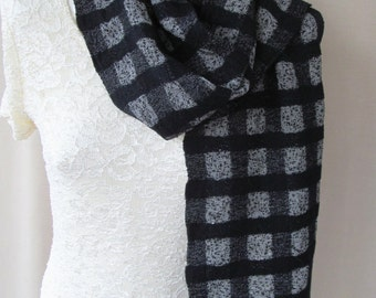 Black Checked Hand Woven Scarf