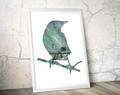 bird silhouette  in teal, crow art photography collage, 11x14 bird art print, mint, gray, animal art, architecture, minimal home decor