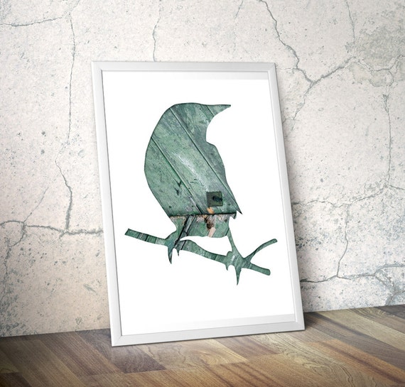 bird silhouette  in teal, crow art photography collage, 11x14 bird art print, mint, gray, animal art, architecture, minimal home decor