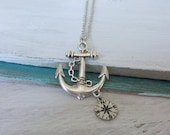 Anchor Compass Necklace by SBC, Antique Silver Anchor, Wanderlust Necklace, Anchor with Compass, Lost at Sea Necklace, Compass Necklace