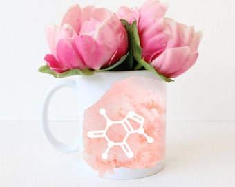 Caffeine Molecule Mug -  Cute Chemistry Science Gift - Geek Chic Gift for Her - ANY COLOR custom Watercolor Coffee Cup