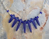 Cobalt Blue Necklace, Sea Glass Necklace, Statement Necklace, Handmade Necklace, Spike Necklace, Collar Necklace, Spring Necklace
