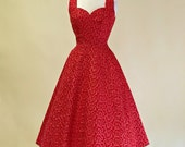 Vintage 1950s Party Dress...GIGI YOUNG Tea Length Cotton with Gold Embroidery Party Dress