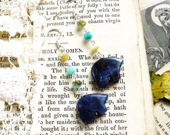 Blue Bears, Vintage Denim Blue Jasper Gemstone Zuni Fetish Tribal Bears & Peruvian Opals Sterling Silver Earrings, Hollywood Hillbilly