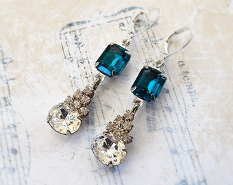 Evening Stars, Vintage Teal Blue Zircon Rhinestones with Crystal Clear Vintage Rhinestone Estate Style Earrings and  Hollywood Hillbilly