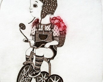 Etching / limited edition original etching (printmaking / graphic art) / original print / original art / bicycle - 'Boy and his tricycle'