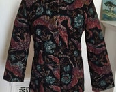 Vintage Nehru Quilted Corduroy Jacket, Tapestry Print Floral & Cranes, XS, Small