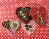Chocolate Filled HEART SHAPED BOX - in 1:6 or 1/12 Scale Dollhouse Miniature