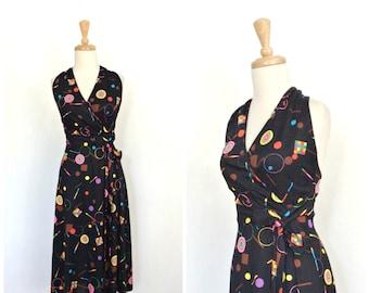 Vintage Halter Dress - 70s dress - Jonathan Logan - backless - wiggle dress - lbd -  knee length - disco dress - pin up - S