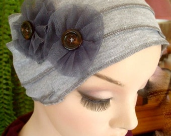 Womens Silver Grey HeadWrap Headwrap Flapper Chemo Headwear head cover Alopecia with flowers
