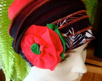 Womens chemo hat black and coral Womens beanie Soft Chemo headwear Cloche Flapper hat Bohemian hat with lower