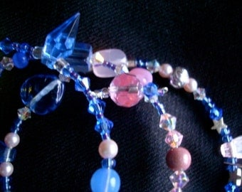 Bracelet Memory wire  wrap bracelet whimsical beading wonderland