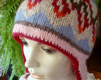 womens hat winter hat vintage hat aviator fairisle hat patterned knitted hat