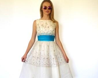 50s Rainbow Floral Embroidery Poofy Cummerbund Dress xxs xs
