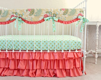 Yellow Coral Buttercup Baby Girl Bumperless Bedding Set