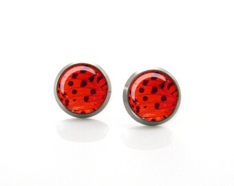 Red Black Butterfly wing Titanium Post Earrings | Hypoallergenic Earring Stud | Titanium Earring Stud | Nickel Free | Sensitive jewelry