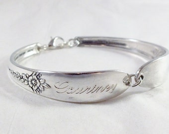 Spoon Bracelet, FREE ENGRAVING, Fantasy 1941, Bridesmaid Gift, Silverware Bracelet, Bridesmaid Jewelry, Vintage Wedding, Personalized,