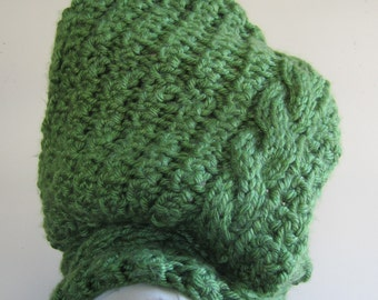 Hood Cowl Chunky Cable Hand Knit Acrylic Folk Nordic Renaissance Elf SCA Medieval Green - One Size
