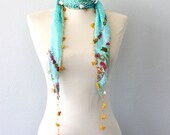 Lace scarf Necklace scarf Oya triangle scarf Ethnic lace headwrap Summer scarves Skinny scarf Crochet lace headband Blue Gift for her