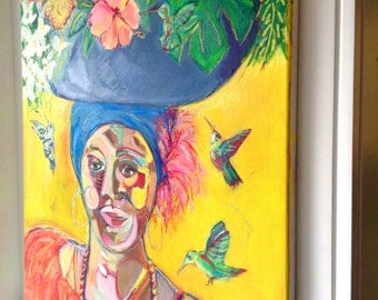 Original Large Abstract Painting / Tropical painting - Lady Of Cartagena - Acrylics and Oil Pastels On Canvas 22 x 28 inches - Tropical Art