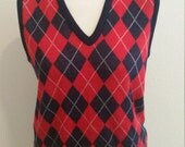 1970s Argyle Print V Neck Sweater Vest, Black and Red by Lady Briarcliff, Size Medium/Large,  #60715