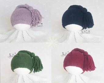 INTRODUCTION PRICE, Newborn Photography Props, Newborn Tassel Hat, 18 Colors, Newborn Stocking Hat, Newborn Sleepy Cap, Knit Newborn Hat