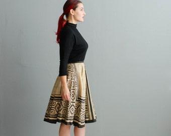 Vintage 1950s Mexican Skirt - Block Print 50s Skirt - Playa del Carmen Skirt