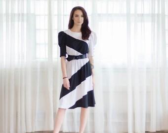 Vintage 1980s Dress - Striped 80s Dress - The Good & Bad Dress