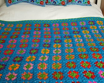 Retro Granny Squares Azure Blue Blanket Afghan Ready To SHIP